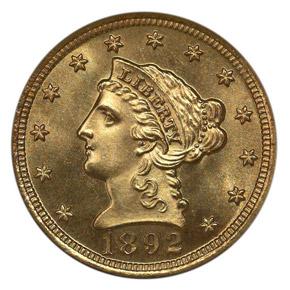 1892 $2.5 MS obverse