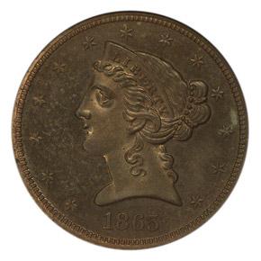 1865 J-446 $5 PF obverse