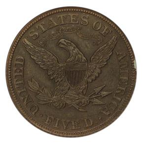 1865 J-446 $5 PF reverse