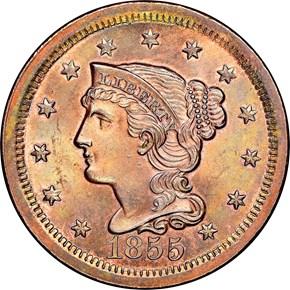 1855 1C MS obverse
