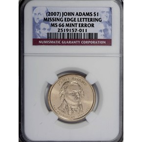 (2007) JOHN ADAMS MISSING EDGE LETTERING $1 MS obverse