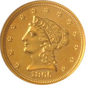1865 J-439 GILT $2.5 PF obverse