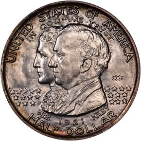 1921 2X2 ALABAMA 50C MS obverse