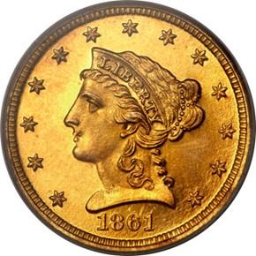 1861 $2.5 PF obverse