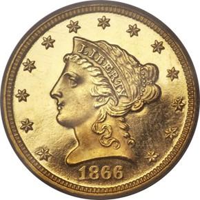 1866 $2.5 PF obverse