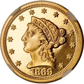 1869 $2.5 PF obverse