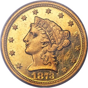 1873 CLOSED 3 $2.5 PF obverse