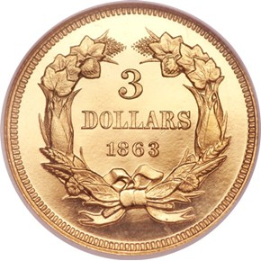 1863 $3 PF reverse