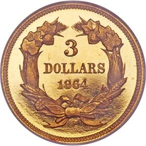 1864 $3 PF reverse