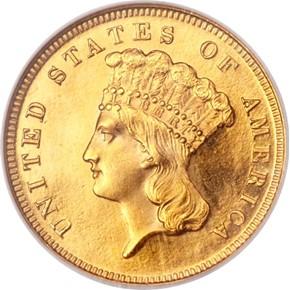 1867 $3 PF obverse