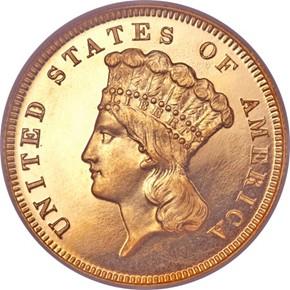 1868 $3 PF obverse