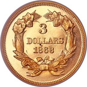 1868 $3 PF reverse