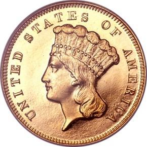 1870 $3 PF obverse