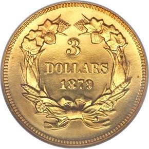 1879 $3 PF reverse