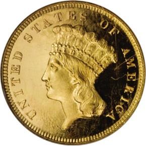 1880 $3 PF obverse