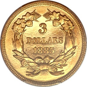 1885 $3 PF reverse