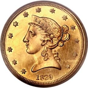 1839 $5 PF obverse