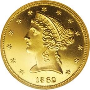 1862 $5 PF obverse