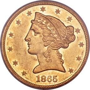 1865 $5 PF obverse