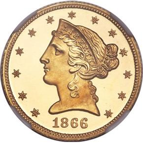 1866 MOTTO $5 PF obverse