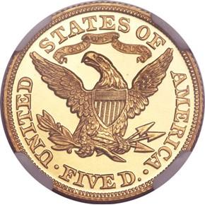 1866 MOTTO $5 PF reverse