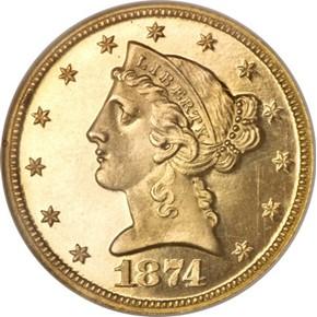 1874 $5 PF obverse