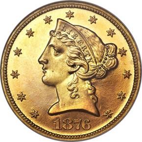 1876 $5 PF obverse
