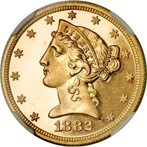 1882 $5 PF obverse