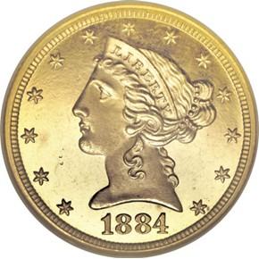 1884 $5 PF obverse