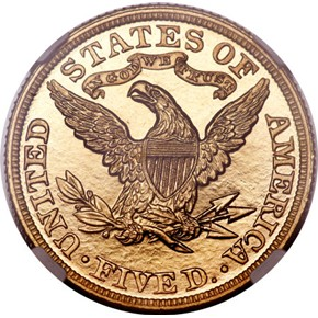 1886 $5 PF reverse