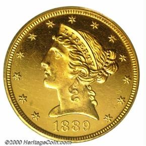 1889 $5 PF obverse