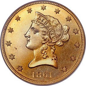 1861 $10 PF obverse