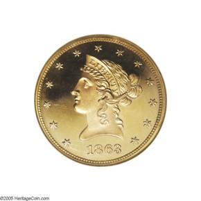 1863 $10 PF obverse