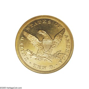 1863 $10 PF reverse