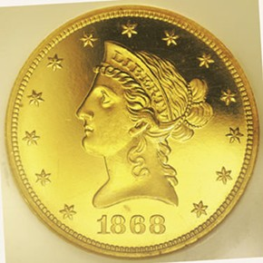 1868 $10 PF obverse