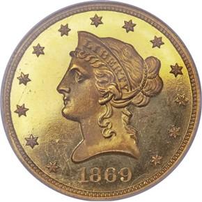 1869 $10 PF obverse