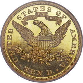 1869 $10 PF reverse