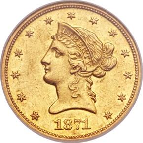 1871 $10 PF obverse
