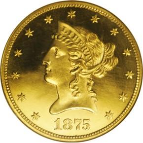 1875 $10 PF obverse