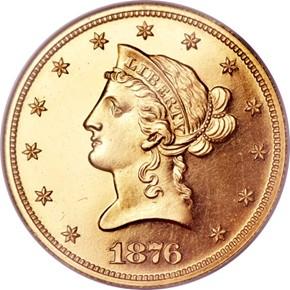 1876 $10 PF obverse