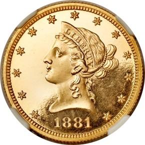 1881 $10 PF obverse