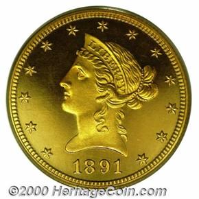 1891 $10 PF obverse