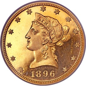 1896 $10 PF obverse