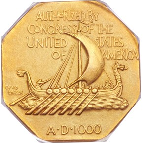 1925 NORSE AMERICAN GOLD MEDAL PF reverse