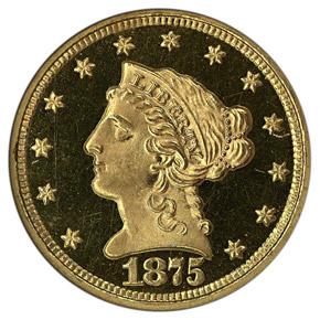 1875 $2.5 PF obverse