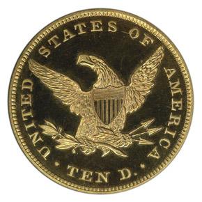 1865 $10 PF reverse