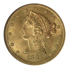 1881 S $5 MS obverse