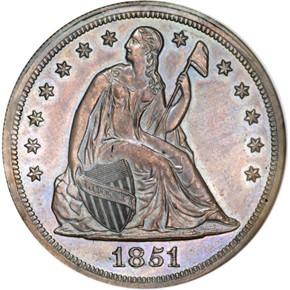 1851 J-132 S$1 PF obverse
