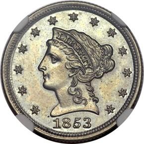 1853 J-150 1C PF obverse