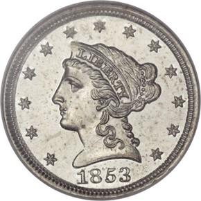 1853 J-151 1C PF obverse
